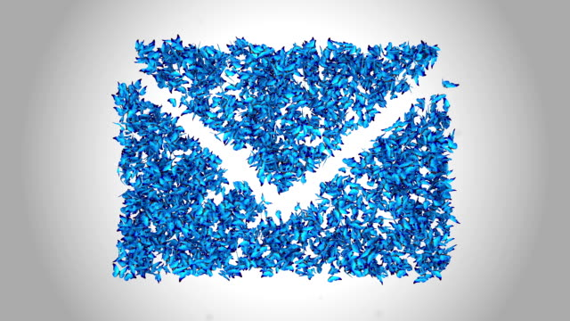 email symbol made by blue butterflies - alpha - multimedia stock videos & royalty-free footage