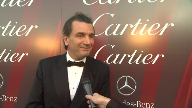 emanuel perrin on why cartier is involved with the palm springs international film festival, what they're doing in honor of the evening's festivities... - cartier stock videos & royalty-free footage