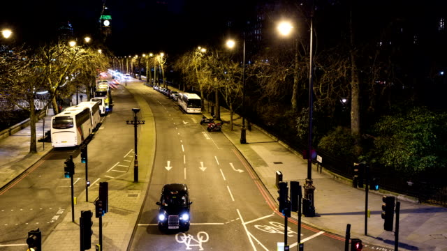 LONDON - CIRCA 2014: Embankment Bridge Motion Time Lapse by night
