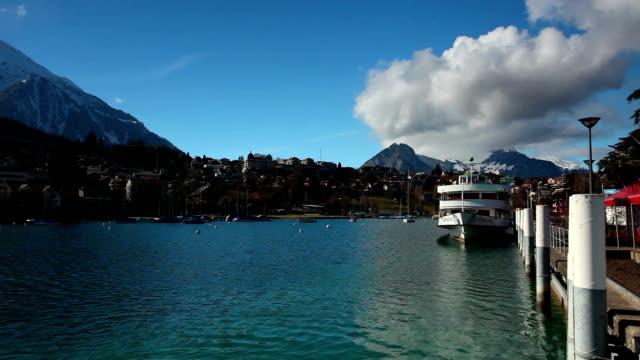 embark from spiez of lake thun - lake thun stock videos and b-roll footage
