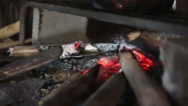 Embers in wood stove_handheld close