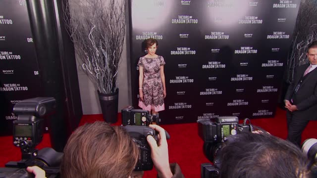 embeth davidtz at 'the girl with the dragon tattoo' new york premiere, new york, ny, united states, - tattoo stock videos & royalty-free footage