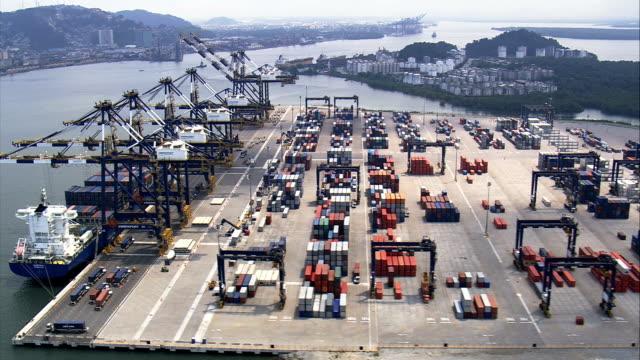 embraport container-terminal – luftaufnahme-são paulo, brasilien - lateinamerika stock-videos und b-roll-filmmaterial