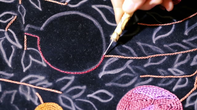 embroidery art & hook embroidery - embroidery stock videos & royalty-free footage