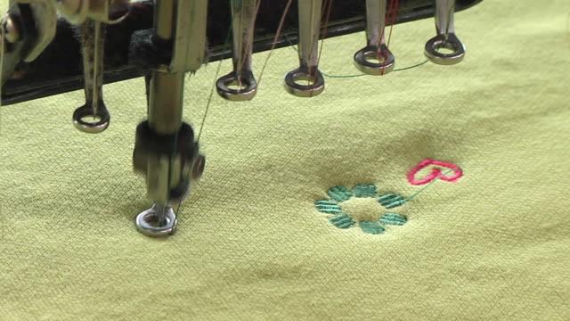 CU Embroidery machine making pattern on cloth / Ningbo, Zhejiang, China