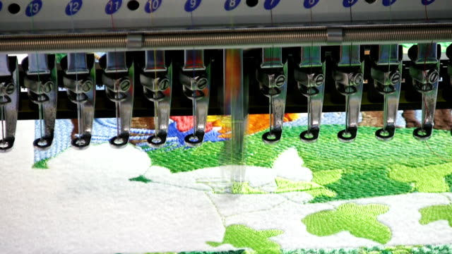 embroidery machine (hd) - embroidery stock videos & royalty-free footage