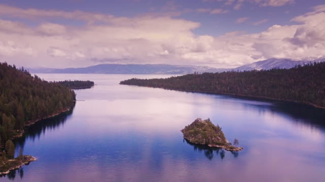 emerald bay, lake tahoe - aerial view - californian sierra nevada stock videos and b-roll footage