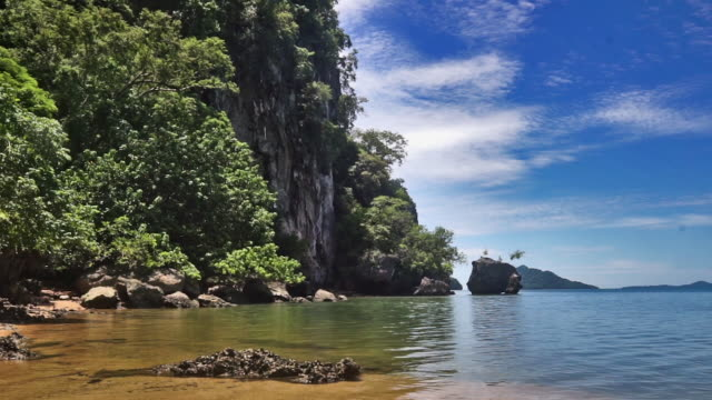 Emerald green sea water remote island, Ko Talabeng, Krabi province, Thailand