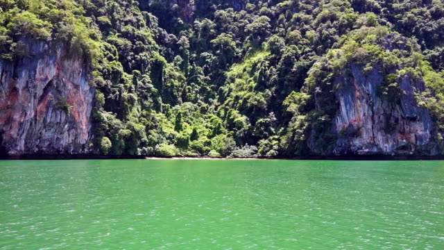 vídeos de stock e filmes b-roll de emerald green sea water remote island, ko talabeng, krabi province, thailand - árvore tropical