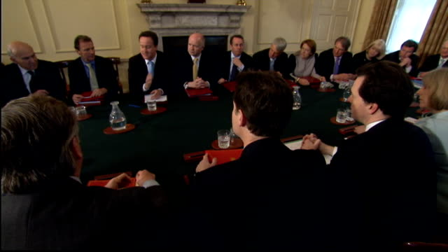 preview lib 10 downing street david cameron cahiring first cabinet meetin gon newlyelected coalition government - 10 downing street stock videos and b-roll footage