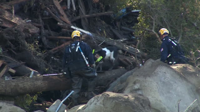 Emergency crews dealing with the aftermath of the California mudslide