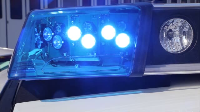 emergency light on german police patrol car - deutschland stock-videos und b-roll-filmmaterial