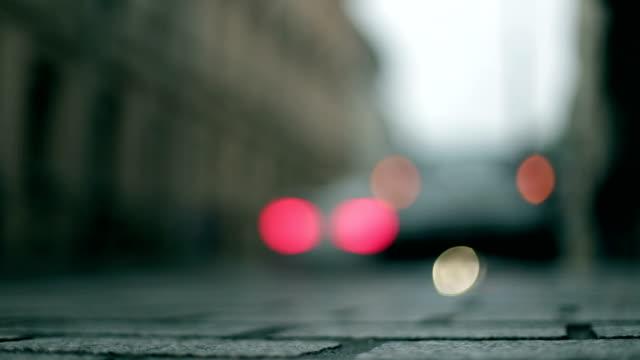 Notleuchten, unscharf gestellt, Autos, Licht-Reflexion, Stadt, morgen vorbei