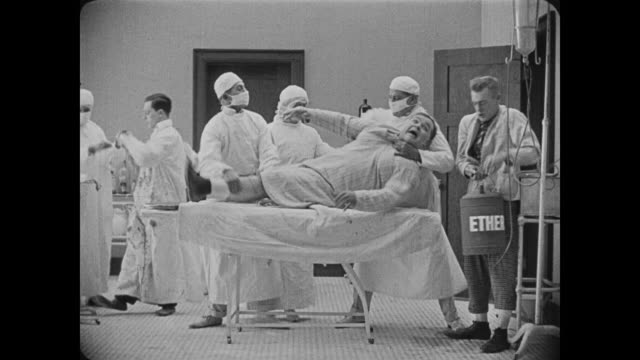 1918 emergency patient (fatty arbuckle) prepared for surgery - anesthetic stock videos & royalty-free footage