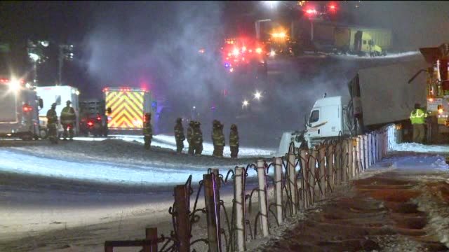 Emergency responders at the massive vehicle pileup on I94 in Kalamazoo County Michigan on Jan 9 2015 One death and at least 20 injuries was reported...