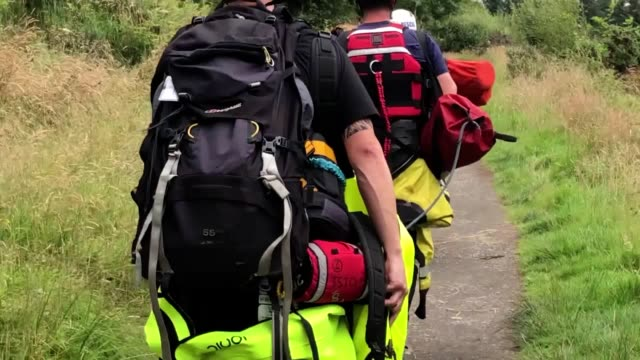 emergency services at bracklinn falls near callander perthshire where a search is under way for people who are believed to have fallen into the water - perthshire stock videos & royalty-free footage