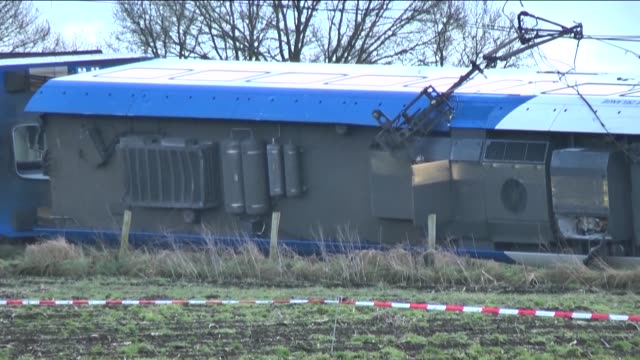 emergency services at the scene of a derailed passenger train near dalfsen eastern netherlands on february 23 2016 one person has died and several... - hydraulic platform stock videos & royalty-free footage