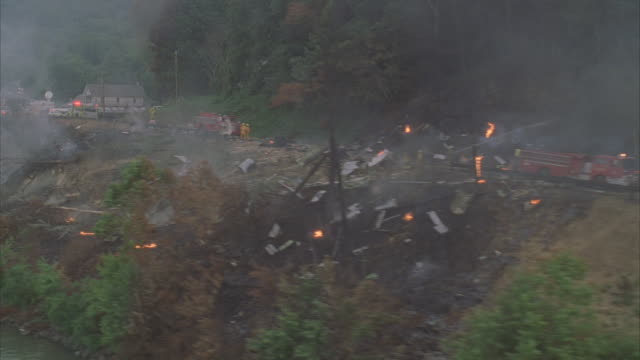 aerial, emergency services on airplane crash site  - airplane crash stock videos and b-roll footage