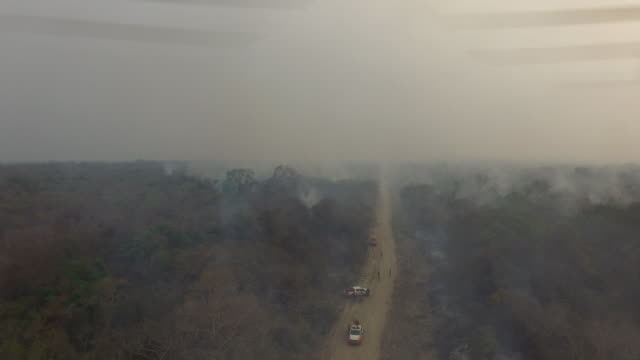 stockvideo's en b-roll-footage met emergency services on dirt road crossing forest covered with smoke after fires in sao braz farm, at transpantaneira road, 15 km of porto jofre city... - number 9