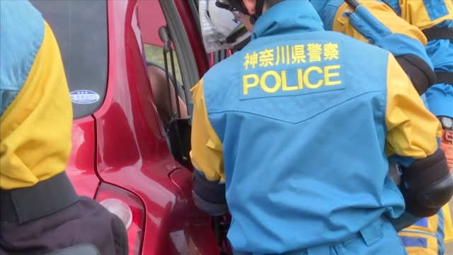 emergency services personnel from the kanagawa prefecture police south kanto defense bureau kanagawa prefectural government zama city and us army... - military exercise stock videos and b-roll footage