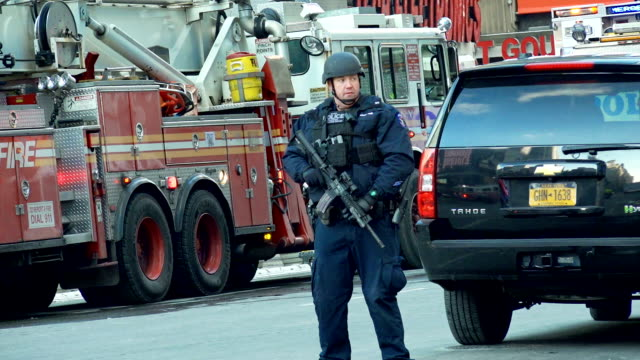 Emergency services stand guard the morning of the terror attack on December 11 2017 Terror Suspect Akayed Ullah is said to have exploded a homemade...