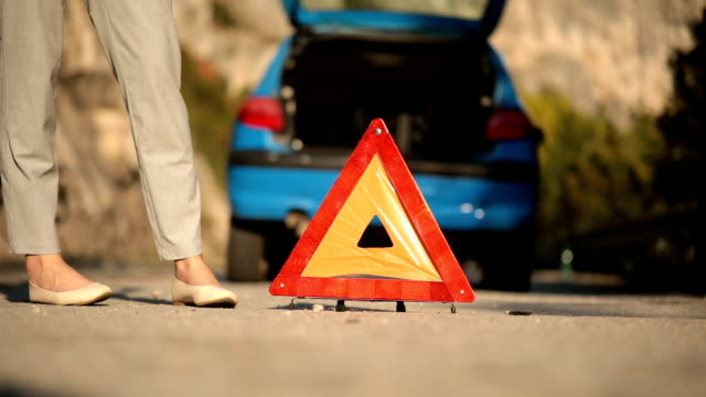 emergency sign on the road - waistcoat stock videos & royalty-free footage
