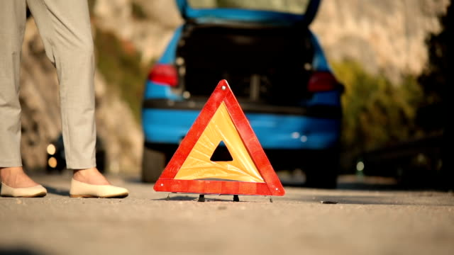 emergency sign on the road - triangle shape stock videos & royalty-free footage
