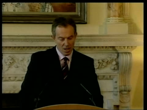 emergency summit planned pool england london downing street tony blair mp press conference sot right to focus on saddam hussein and his weapons of... - weapons of mass destruction stock videos and b-roll footage
