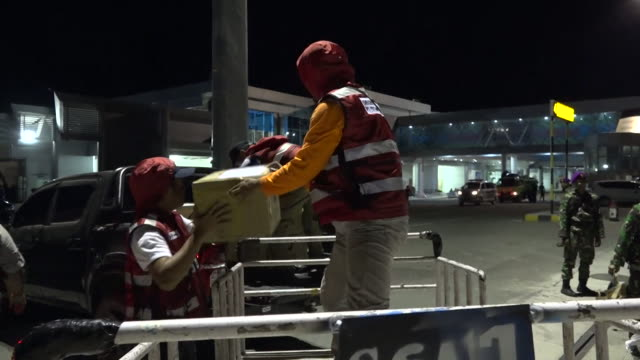 Emergency supplies arriving at Palu Airport in Indonesia for survivors of a devastating earthquake and tsunami