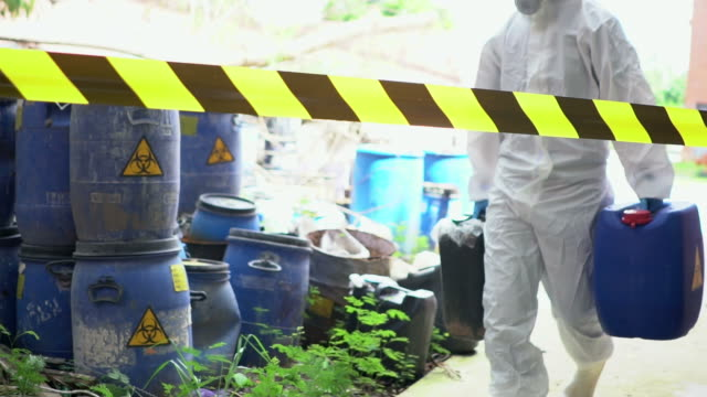 emergency team removes biohazard leak - toxic waste stock videos & royalty-free footage