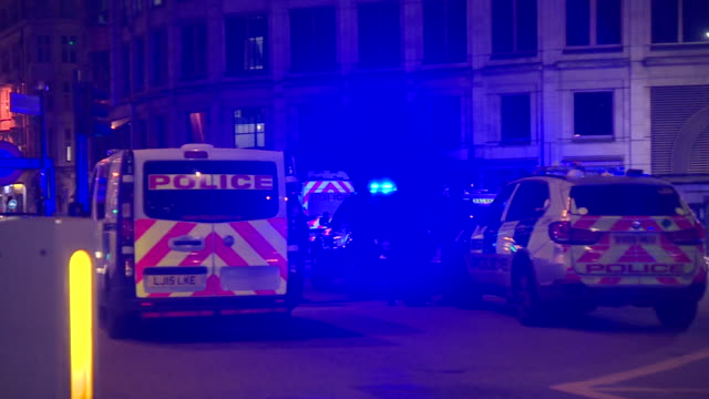 emergency vehicles at the site of the london bridge terror attacks - central london video stock e b–roll