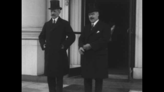Emile Daeschner French Ambassador to US walking out of White House with another official and standing with him for photo opportunity / close view of...