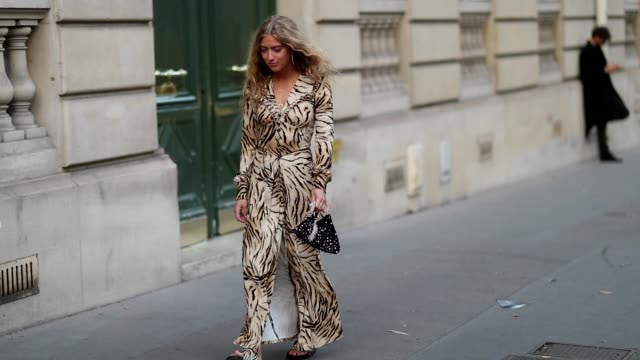 emili sindlev wearing dress with animal print zebra print birkenstock sandals black bag is seen outside alessandra rich during paris fashion week... - zebra print stock videos & royalty-free footage