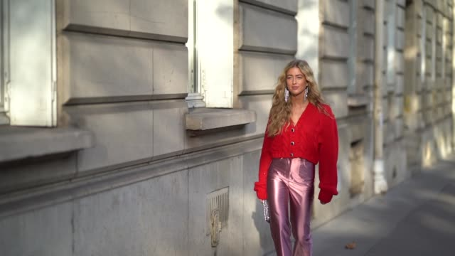 emili sindlev wears earrings a red wool vneck top lustrous pink fulllength pants red heels with a bejeweled buckle a glittering bejeweled clutch... - full length stock videos & royalty-free footage