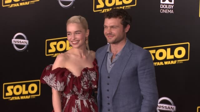 Emilia Clarke and Alden Ehrenreich at the 'Solo A Star Wars Story' World Premiere at the El Capitan Theatre on May 10 2018 in Hollywood California