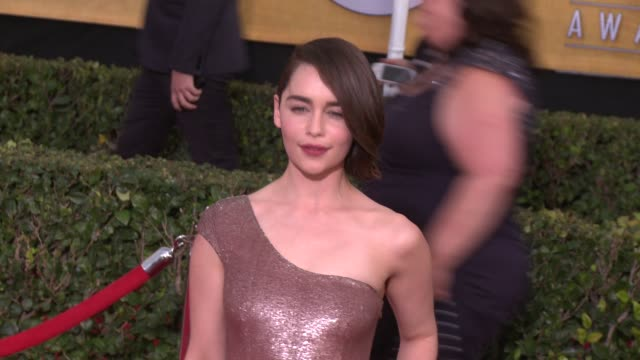 emilia clarke at 20th annual screen actors guild awards - arrivals at the shrine auditorium on in los angeles, california. - shrine auditorium stock videos & royalty-free footage