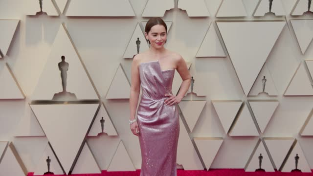 emilia clarke at dolby theatre on february 24 2019 in hollywood california - oscars stock videos & royalty-free footage