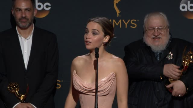 INTERVIEW Emilia Clarke Kit Harington George R R Martin David Benioff D B Weiss at 68th Annual Primetime Emmy Awards Press Room in Los Angeles CA