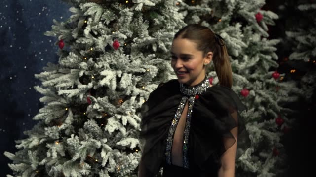 slomo emilia clarke last christmas uk premiere at bfi southbank on november 11 2019 in london england - red carpet event stock videos & royalty-free footage