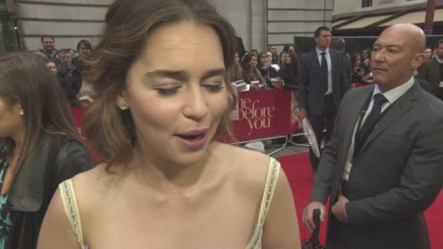interview emilia clarke on sam claflin being like hugh grant euthanasia as a subject at 'me before you' uk film premiere on may 25 2016 in london... - euthanasia stock videos & royalty-free footage