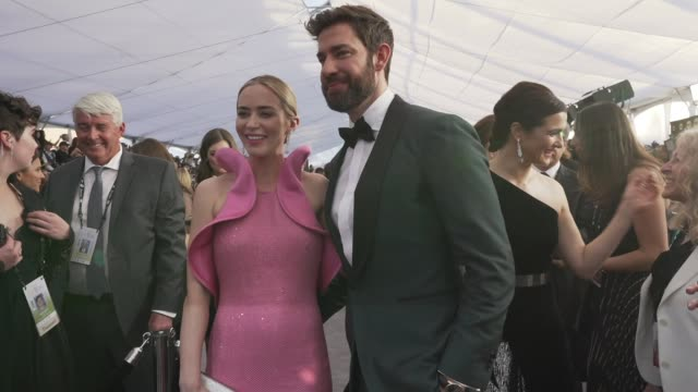 emily blunt and john krasinski at the 25th annual screen actors guild awards social ready content at the shrine auditorium on january 27 2019 in los... - john krasinski stock videos & royalty-free footage