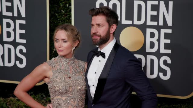 emily blunt and john krasinski at the 76th annual golden globe awards arrivals 4k footage at the beverly hilton hotel on january 06 2019 in beverly... - golden globe awards stock videos & royalty-free footage