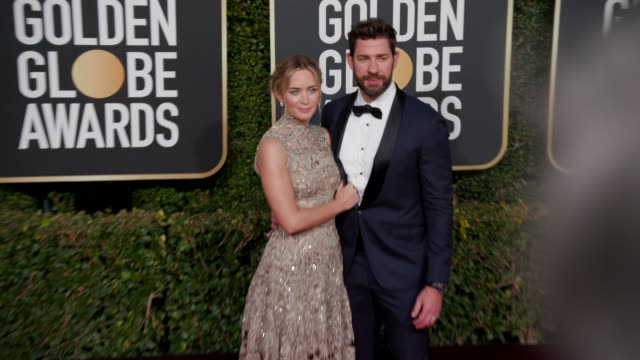 emily blunt and john krasinski at the 76th annual golden globe awards arrivals 4k footage at the beverly hilton hotel on january 06 2019 in beverly... - john krasinski stock videos and b-roll footage