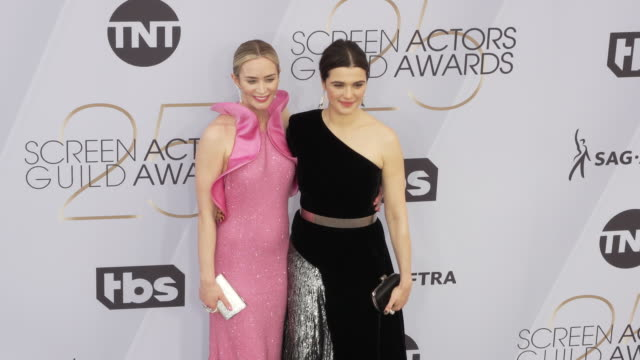 emily blunt and rachel weisz at the 25th annual screen actors guild awards at the shrine auditorium on january 27 2019 in los angeles california - rachel weisz stock videos & royalty-free footage