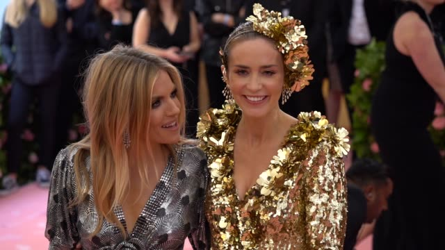 emily blunt and sienna miller at the 2019 met gala celebrating camp notes on fashion arrivals at metropolitan museum of art on may 06 2019 in new... - met gala 2019 stock videos and b-roll footage