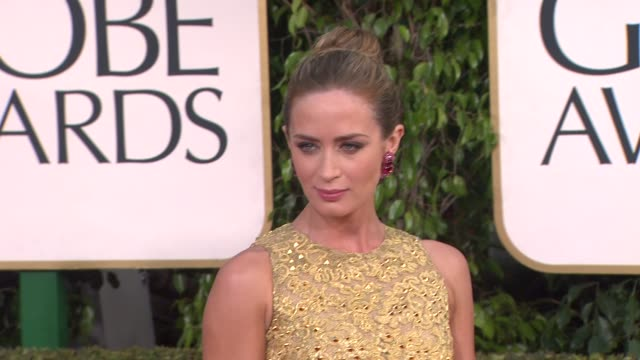 emily blunt at 70th annual golden globe awards - arrivals on 1/13/13 in los angeles, ca . - golden globe awards stock videos & royalty-free footage