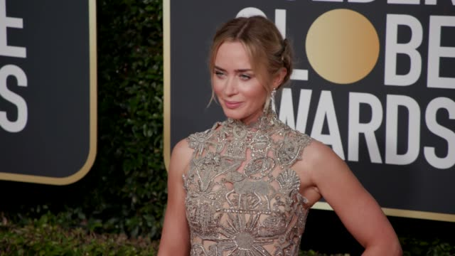 emily blunt at the 76th annual golden globe awards arrivals 4k footage at the beverly hilton hotel on january 06 2019 in beverly hills california - golden globe awards stock videos & royalty-free footage