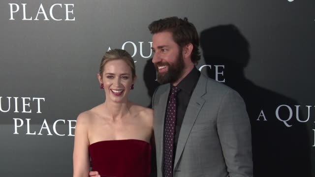 emily blunt john krasinski at new york premiere of a quiet place at amc lincoln square theater on april 2 2018 in new york city - john krasinski video stock e b–roll