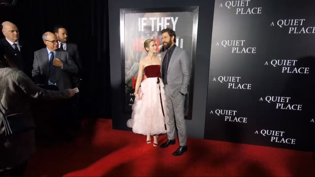 emily blunt john krasinski at the new york premiere of a quiet place at amc lincoln square theater on april 02 2018 in new york city - john krasinski stock videos & royalty-free footage