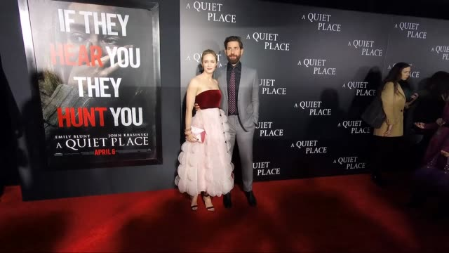 emily blunt john krasinski at the new york premiere of a quiet place at amc lincoln square theater on april 02 2018 in new york city - john krasinski video stock e b–roll